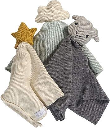 sch/önes Geschenk zur Geburt Schaf ideal f/ür unterwegs oder zum kuscheln zu Hause Kindsgut Schmusetuch mit Rassel aus 100/% Baumwolle dezente Farben und Schlichtes Design