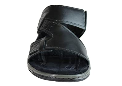 bd9c2aab936f Pegada Andy Mens Leather Comfy Cushioned Slide Sandals Made in Brazil - Size   10 AUS or 44 EUR - Color  Navy  Amazon.com.au  Fashion