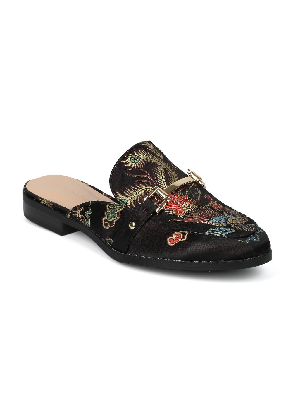 Women Satin Brocade Phoenix Horsebit Loafer Slide HF84 - Black Satin (Size: 6.5)