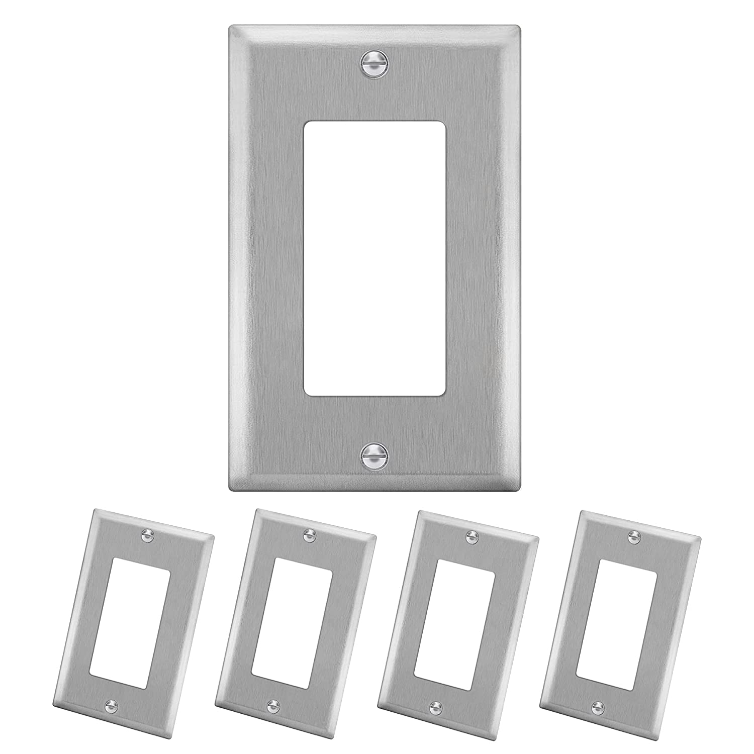 """5 Pack - ELECTECK 1-Gang Metal Decor Wall Plate, Non-corrosive Stainless Steel Light Switch Outlet Cover, Standard Size 4.52"""" x 2.77"""", Silver"""