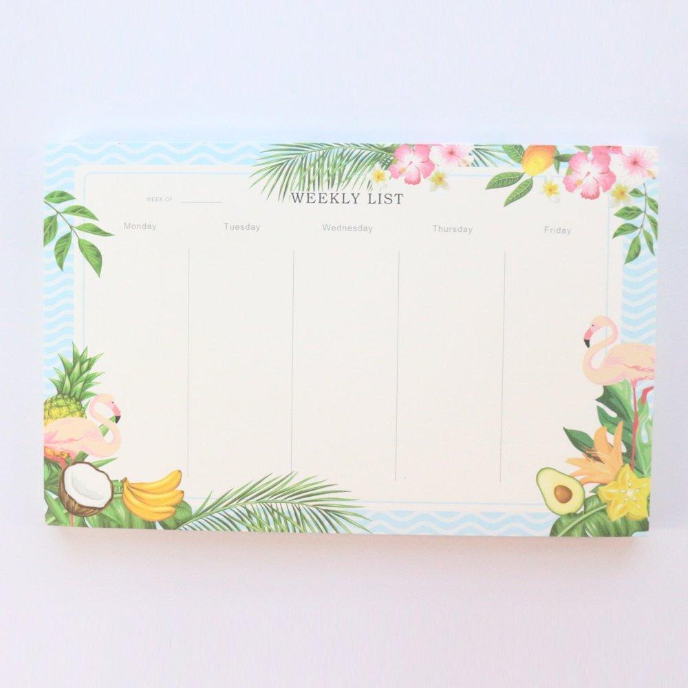 Domikee original creative cartoon flamingo office school desk weekly planner pad stationery,cute student calendar note pad,A5