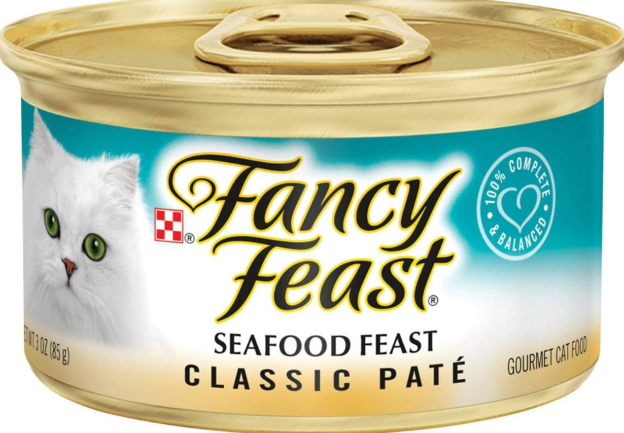 30 Cans of Fancy Feast Classic Seafood Feast Canned Cat Food, 3-oz, ea