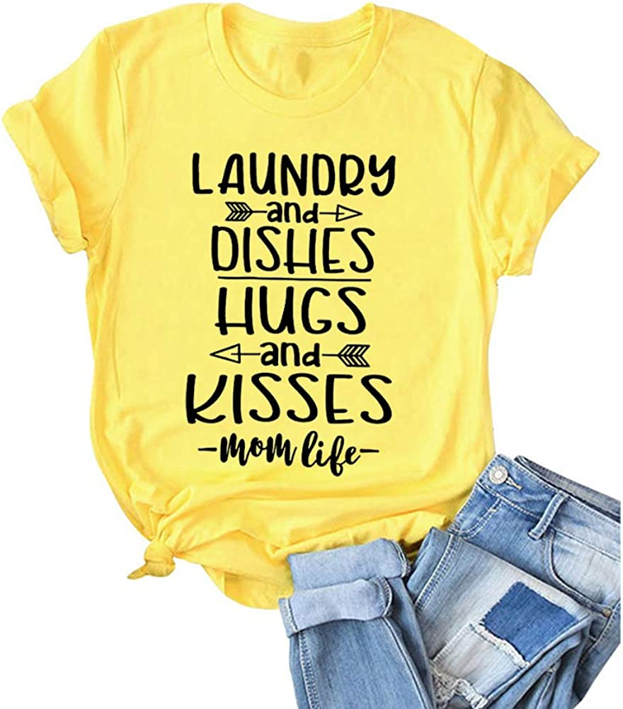 ZYX Women Laundry and Dishes Hugs and Kisses Letter Print Tops Short Sleeve Momlife Tee T-Shirt