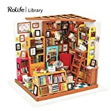 Rolife DIY Miniature Room Set-Woodcraft Construction Kit-Wooden Model Building set-Mini House Crafts-Fashion Library Playset-Creative Birthday for Boys Girls Women and Friends