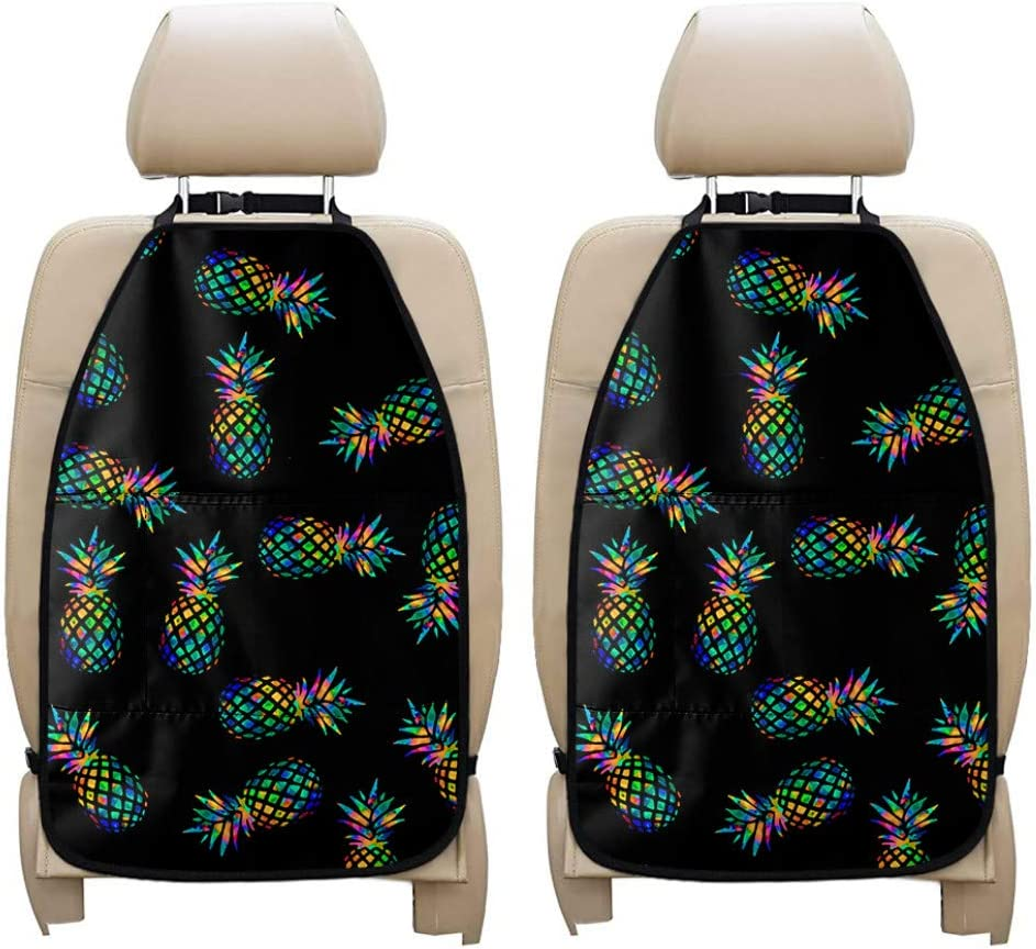 chaqlin Pineapple Car Seat Organizer Black Car Organizer Back Seat Protector Kick Mats for Kids Car Storage Organizer Keep Interior from Dirty,Mud,Personalized Kick Mat,2 Pcs