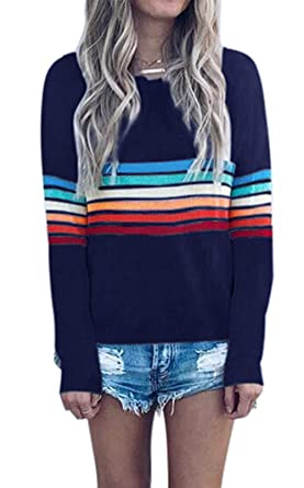 326ce552a71aa1 onlypuff Navy Stripe Blouse Rainbow T Shirt Long Sleeve Tunic Top for Women  S