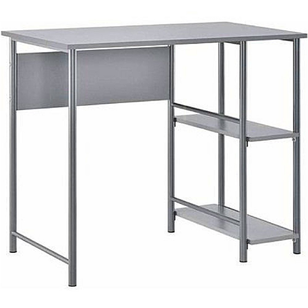 Student Desk with Side Bookself Writing Training Table Laminated Work Space Metal Frame Spacious Computer Desktop Removable Storage Shelving Home Office Bedroom Furniture & eBook by BADA shop