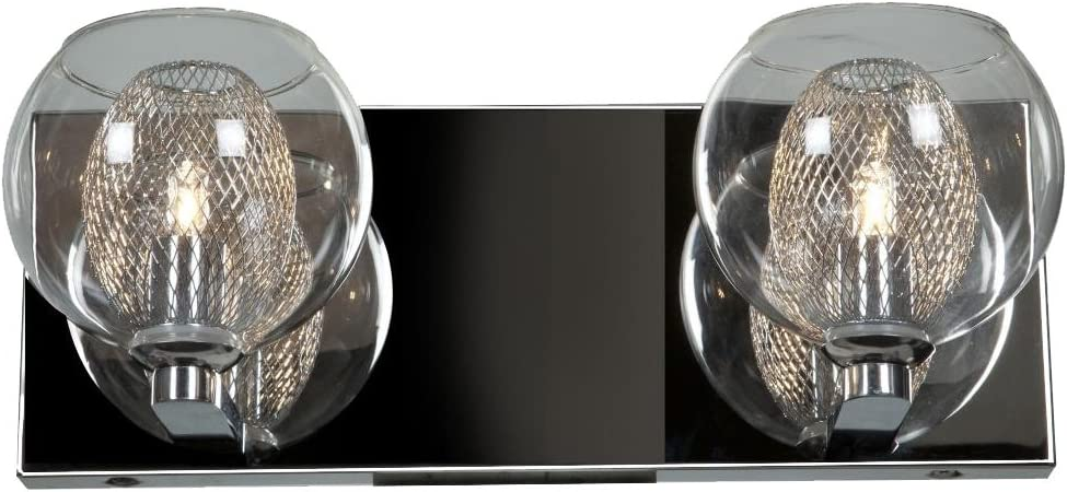Aeria – 2-Light Vanity – Chrome Finish – Clear Glass Shade