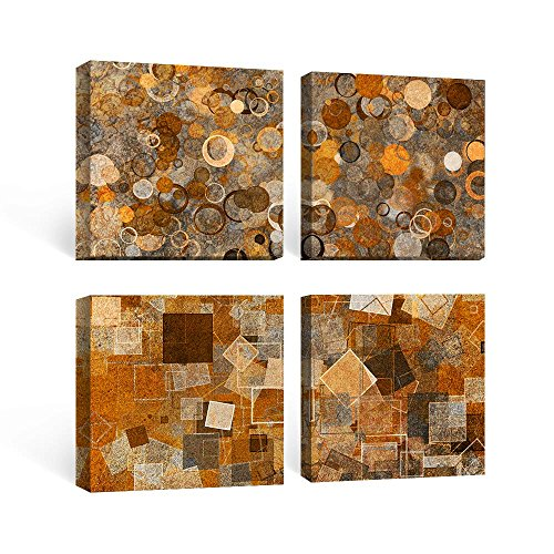 SUMGAR Abstract Wall Art for Living Room Brown and Beige Paintings on Canvas Geometry 4 (Abstract Brown Art)