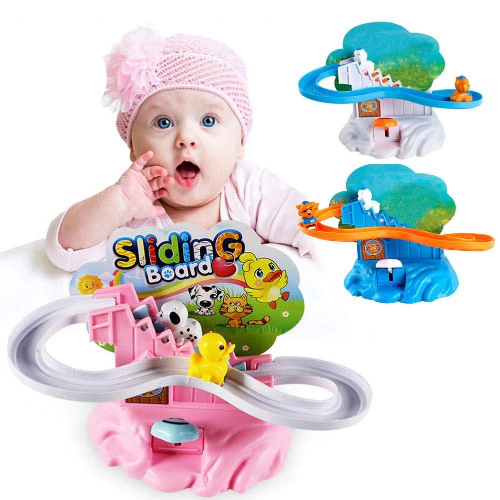 Piste manuelle monter les escaliers en tournant l'animal de dessin animé de jouet de glissière de glissière (boîte de couleur) iShinè