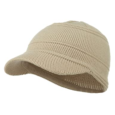 6ddb237a5 Army Jeep Style Beanie Cap - Beige OSFM at Amazon Men's Clothing store: