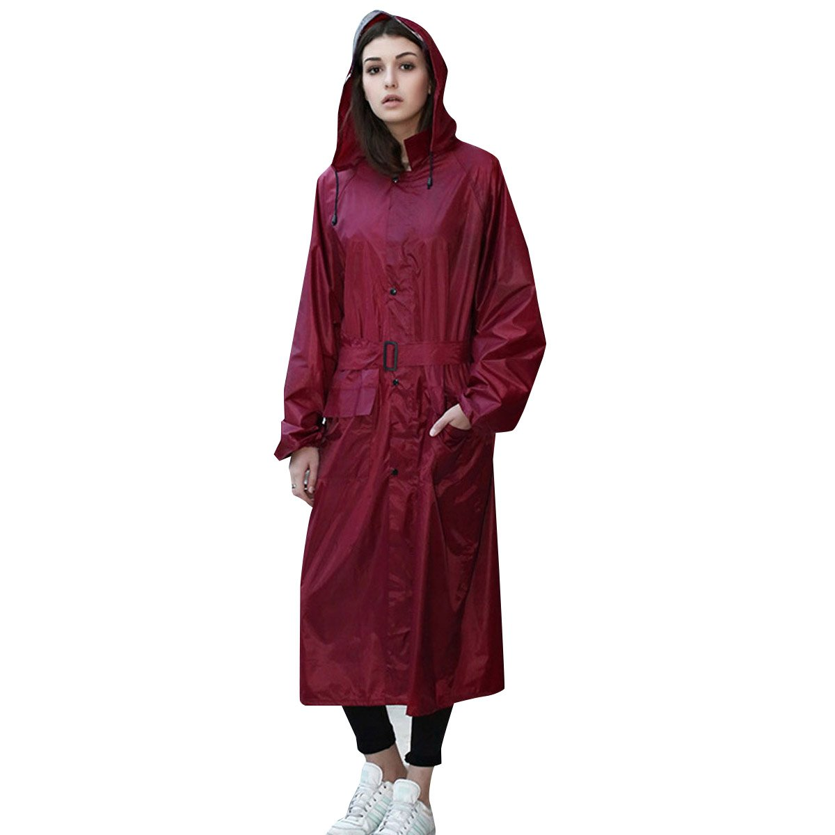 UNIQUEBELLA Womens Thicken Hooded Raincoat with Pocket Waterproof Long Rainwear - Red - 2XL