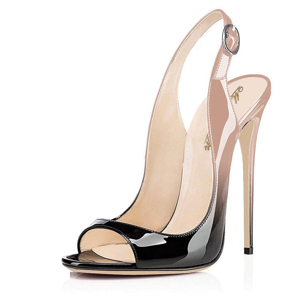 Modemoven Women's Patent Leather Pumps,Peep Toe Heels,Slingback Sandals,Evening Shoes,Cute Stilettos B06Y5FW9CC 7.5 B(M) US|Beige Black