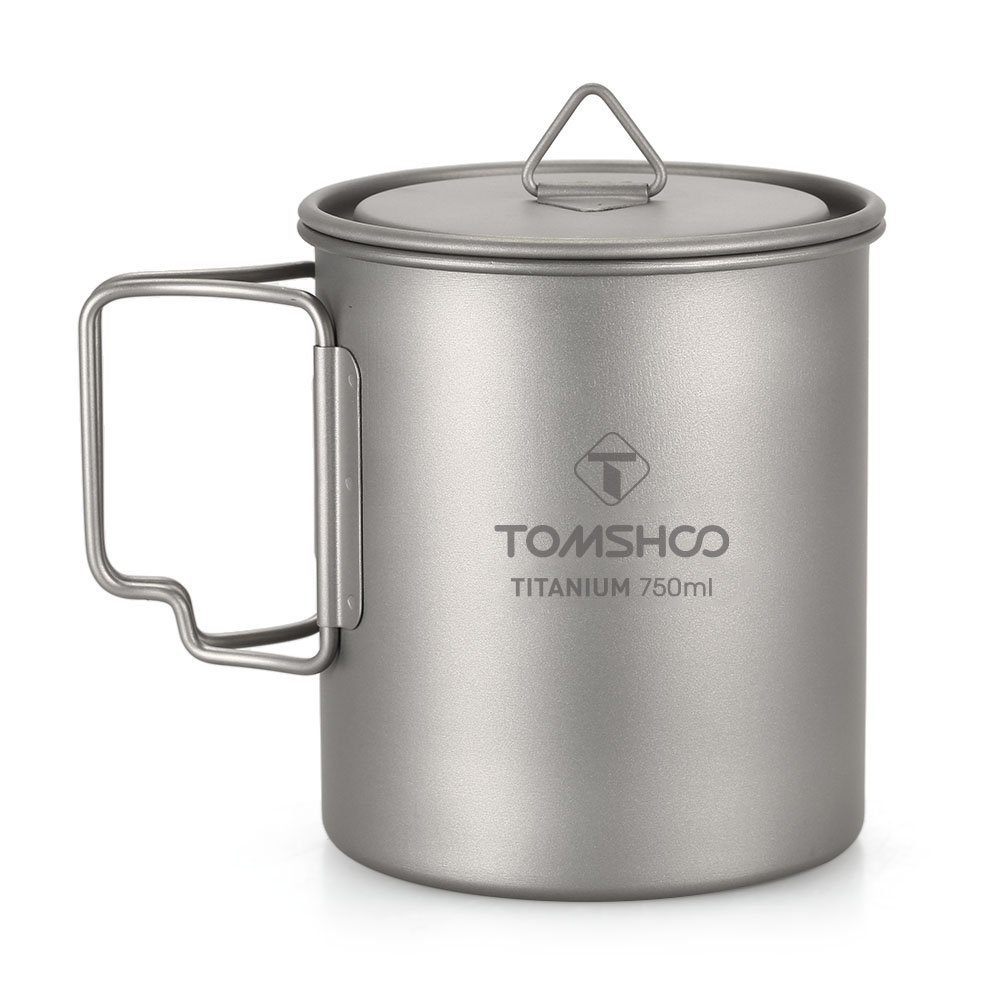 TOMSHOO Titanium Pot 750ml Portable Water Mug Cup with Lid and Foldable Handle for Outdoor Camping Picnic Cooking by TOMSHOO