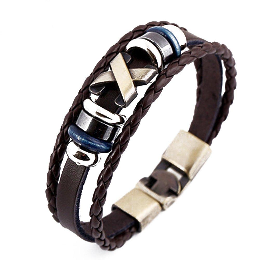 Stunning Cool Leather Bracelet Bangle Vintage Cuff Wristband Rock Punk Bracelet YIHAN