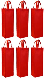 reusable gift bag single bottle wine tote 6 pack set red