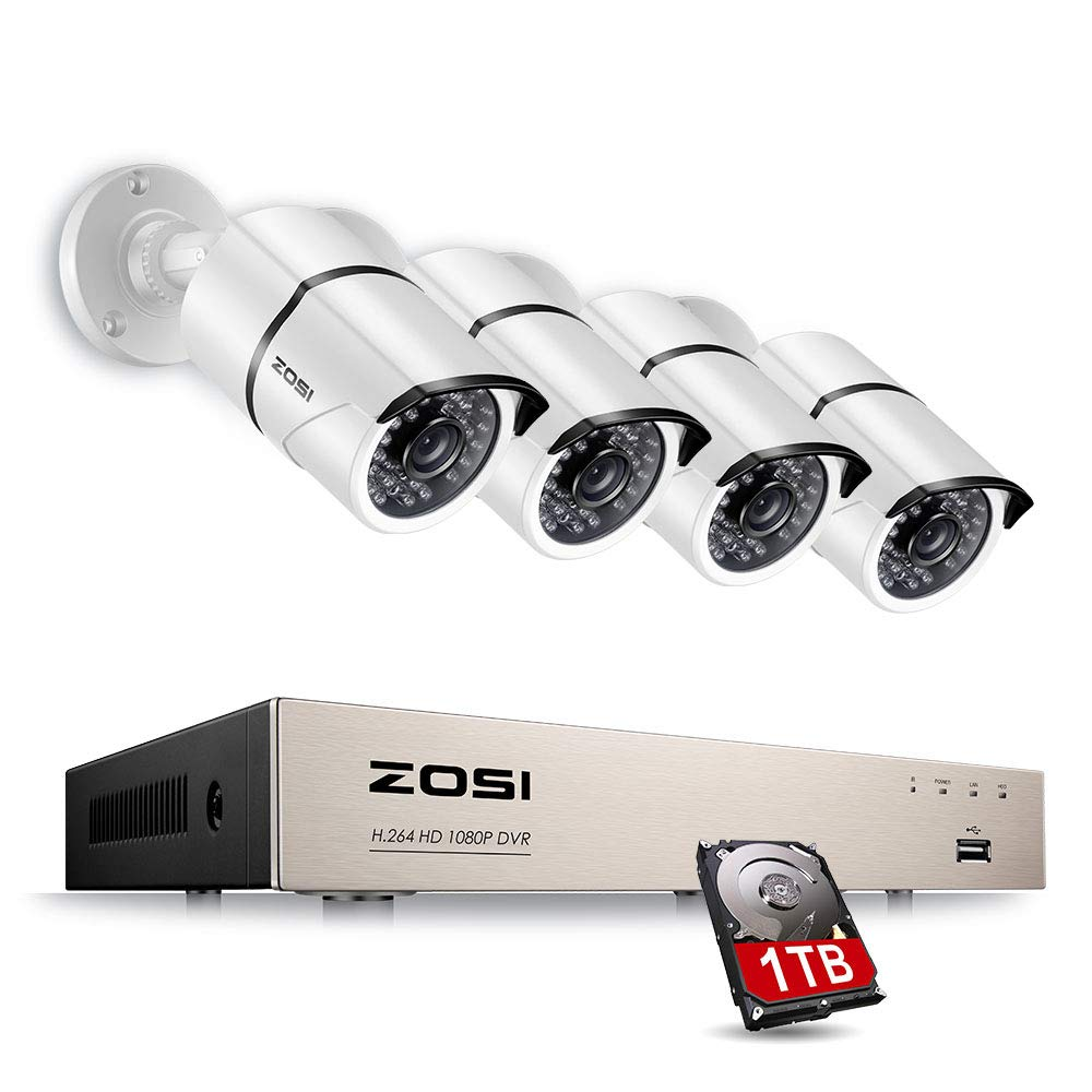 ZOSI 8CH FULL TRUE 1080P Video Security DVR 4X 1080P HD Outdoor Weatherproof Surveillance Camera System 1TB HDD White(100ft night vision, Motion Alert, Smartphone& PC Easy Remote Access)
