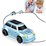 Magic Inductive Truck Toy Cars HUIBUDCH Magic Mini Car Children's Birthday Toy Gift [Follows Black Line] for Kids (Blue Jeep)