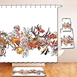 Nalahome Bath Suit: Showercurtain Bathrug Bathtowel Handtowel Sea Animals Decor Illustration with Fish Seaweed Starfish Coral Algae Jellyfish Sea Life Summertime Mustard Olive