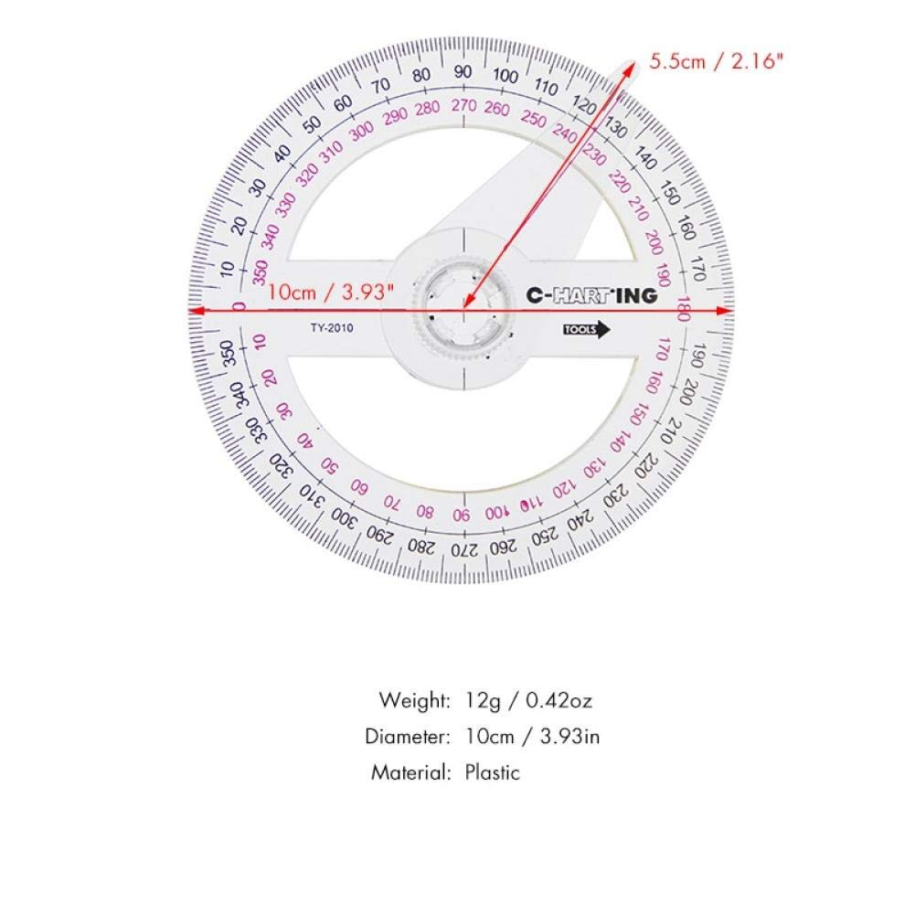PiniceCore 1 Pc Portable All Circular 10cm Plastic 360 Degree Pointer Protractor Ruler Angle Finder Swing Arm For School Office Supplies