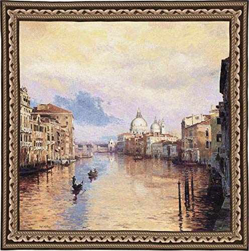 Pure Country Weavers Grande - Grand Canal | Woven Tapestry Wall Art Hanging | Romantic Sunset on Venetian Waterway | 100% Cotton USA Size 53x53