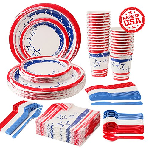 Disposable Patriotic Dinnerware Set, 4th of July American Flag Party Supplies Decorations, Plastic Knives, Spoons, Forks, Paper Plates, Napkins and Cups, 24 Servings]()