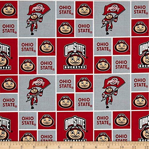 Ncaa Fabric - Sykel Enterprises NCAA Ohio State Patches Allover Red/White Fabric by The Yard