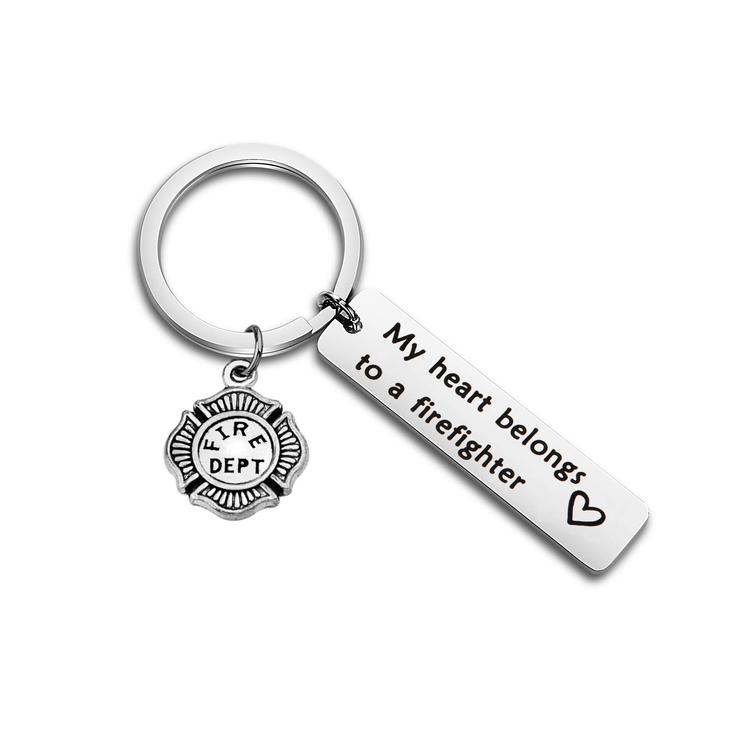 WUSUANED My Heart Belongs to A Firefighter Keychain Gift for Fireman Mom Wife Daughter Girlfriend (Firefighter Keychain)