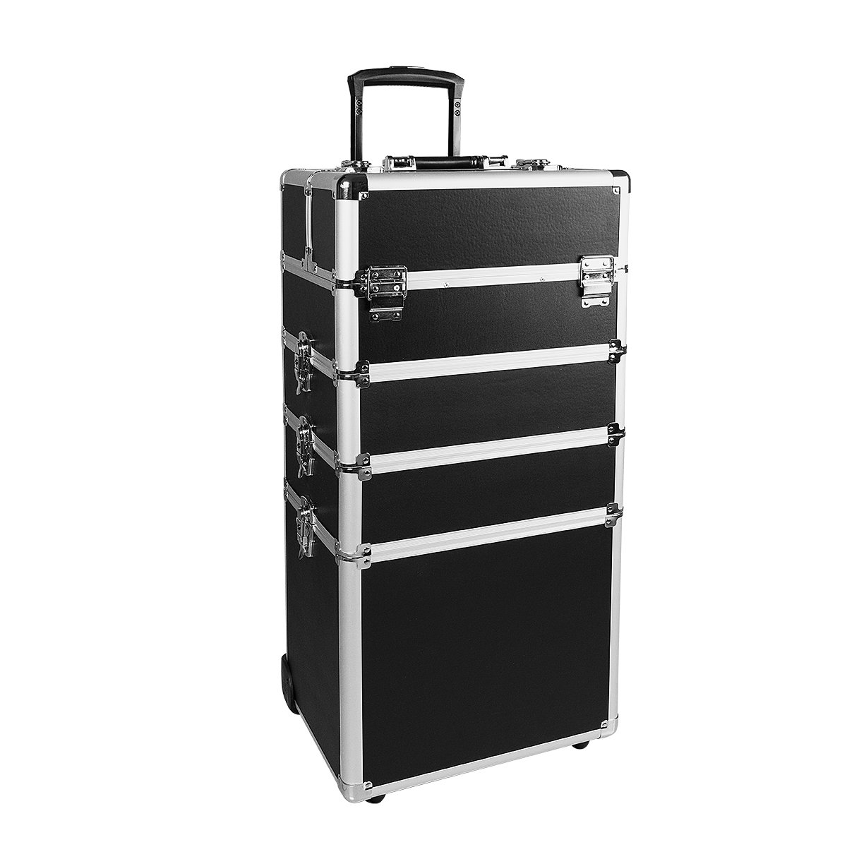 Makeup Train Case 4 in 1 Professional Cosmetics Rolling Organizer Aluminum Frame and Folding Trays (10.4×13.4×28.7 in,Black)
