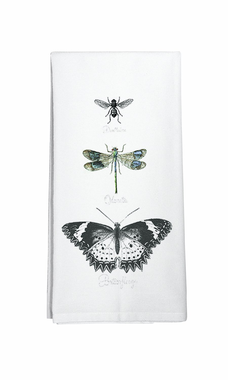 Dragonfly and Bee Cotton Flour Sack Dish Towel Montgomery Street Butterfly