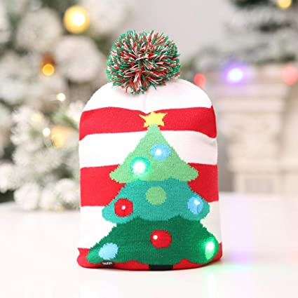 Tpingfe LED Light Christmas Hat Santa Claus Reindeer Snowman Xmas Gifts Cap  for Kids Adult ( ef35954b6e5