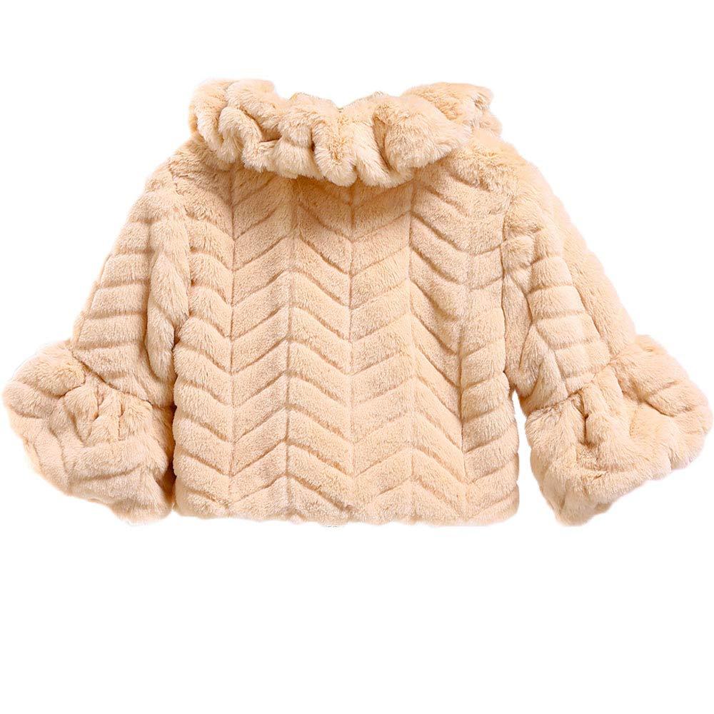 BKSKK Flower Girl Faux Fur Wraps Cape Long Sleeves Girls Shawls Kids First Communion Cozy Princess Coats Cape Bolero Shrug
