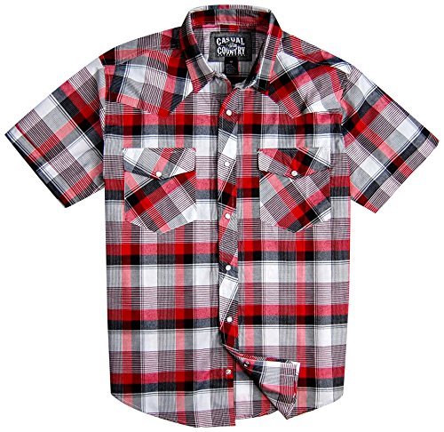 Mens Classic Plaid Short Sleeve Casual Western Shirt; Pearl Snap Front