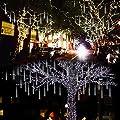 Lalapao Outdoor Christmas String Lights Solar Powered LED Meteor Shower Rain Lights Xmas Falling Raindrop Light 8 Tubes 288 LED Cascading Fairy Lights for Tree Garden Wedding Party Home Decor (White)