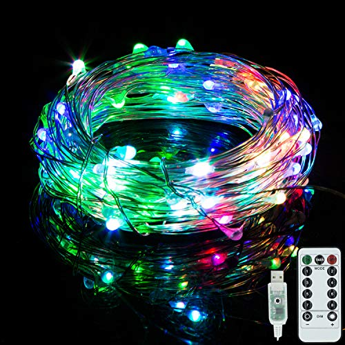 - Vinsco String Lights, Plug in USB Powered 33ft/10M 100 LED Copper Wire Dimmable Fairy Light [Waterproof] [8 Modes] with Remote Control for Bedroom Patio Indoor Outdoor DIY Christmas Xmas-Multicolor