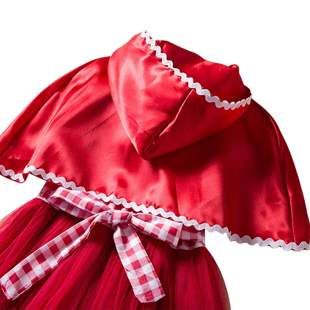 Tianxiu Costume di Natale per Bambini Halloween Cappuccetto Rosso Costume da Principessa Abito di Natale Costume da Ragazza Costume da Trucco