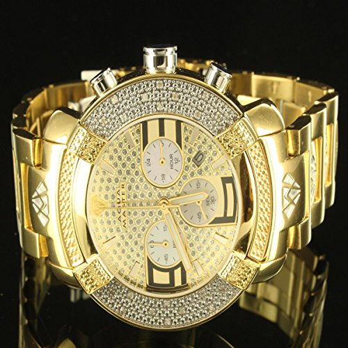 Aqua Master Diamond 14k Yellow Gold Finish 3 Dial Men Father Day Gift Watch JOJO