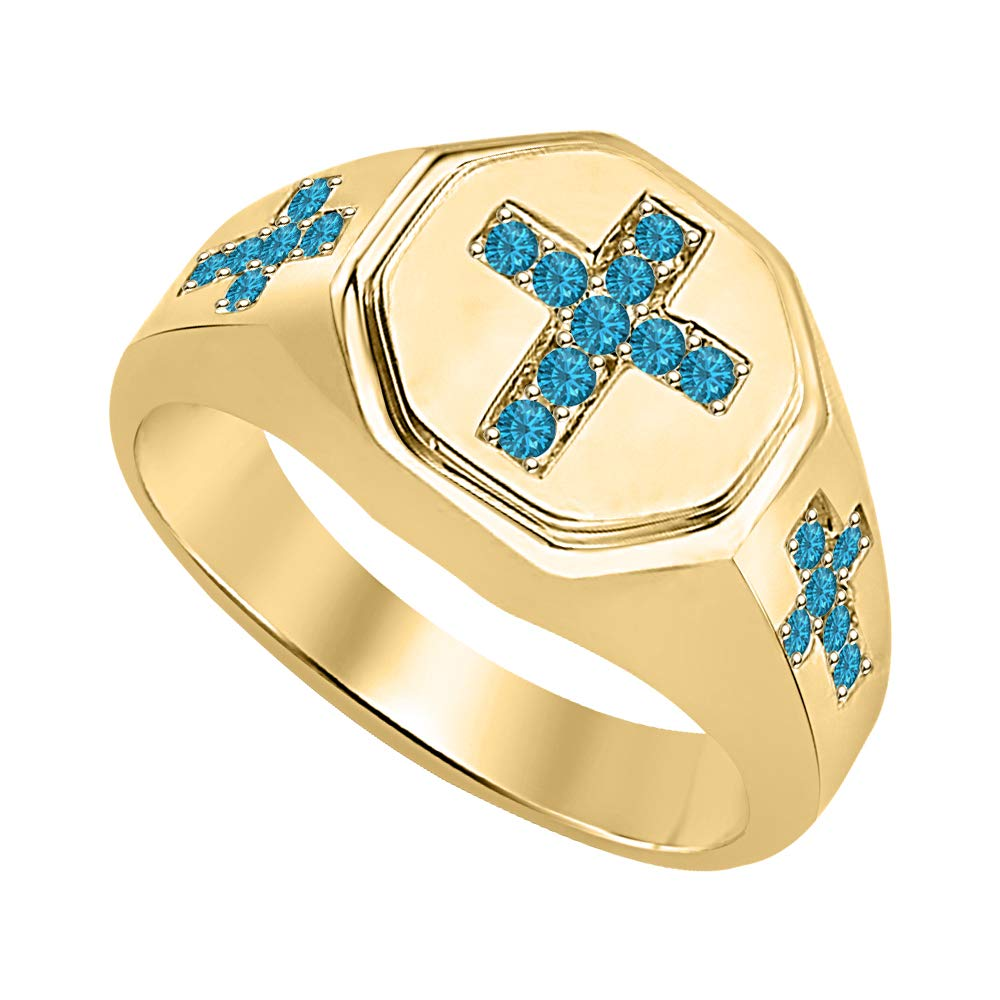 SVC-JEWELS 18K Yellow Gold Plated 925 Sterling Silver Round Gemstone 3 Crosses Mens Wedding Band Ring