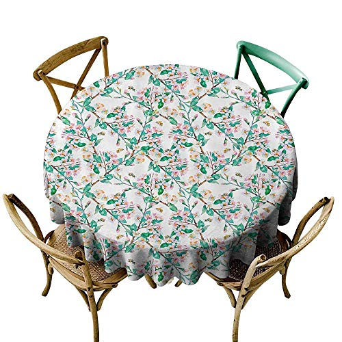 Jbgzzm Elegance Engineered Tablecloth Flower Pink Cherry Blossoms Pattern with Bumble Bees Japanese Spring Themed Chic Print and Durable D43 Pink Green ()