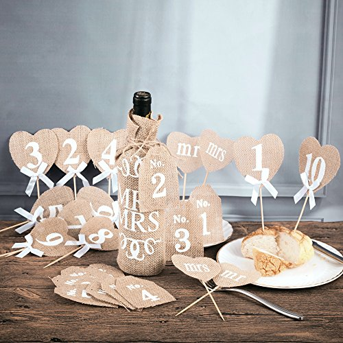 Handmade Natural Burlap Heart Food Picks Jute Rustic Wedding Thanksgiving Christmas Party Mr & Mrs Table Decorations and 1-10 Numbers Festivals Hessian Wine Bottles Labels Hanging Flags 22Pcs/Set -
