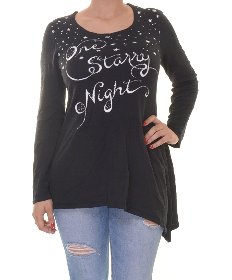 Style /& Co Womens Plus Embellished Graphic Sweater