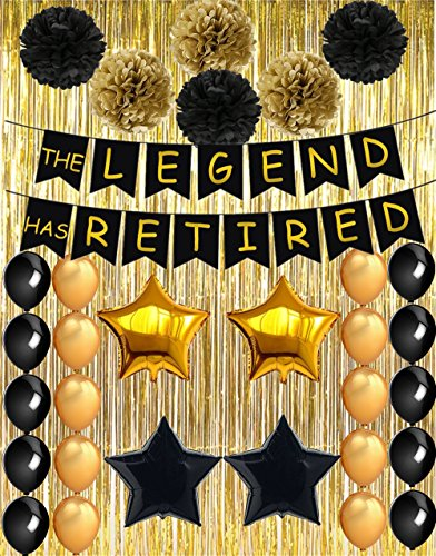 Retirement Party Decorations - The Legend Has Retired Banner Decoration Kit (48PCS), Retirement Party Supplies Gifts and Decor Including Gold Foil Curtain for Background Photo Props TD004 -
