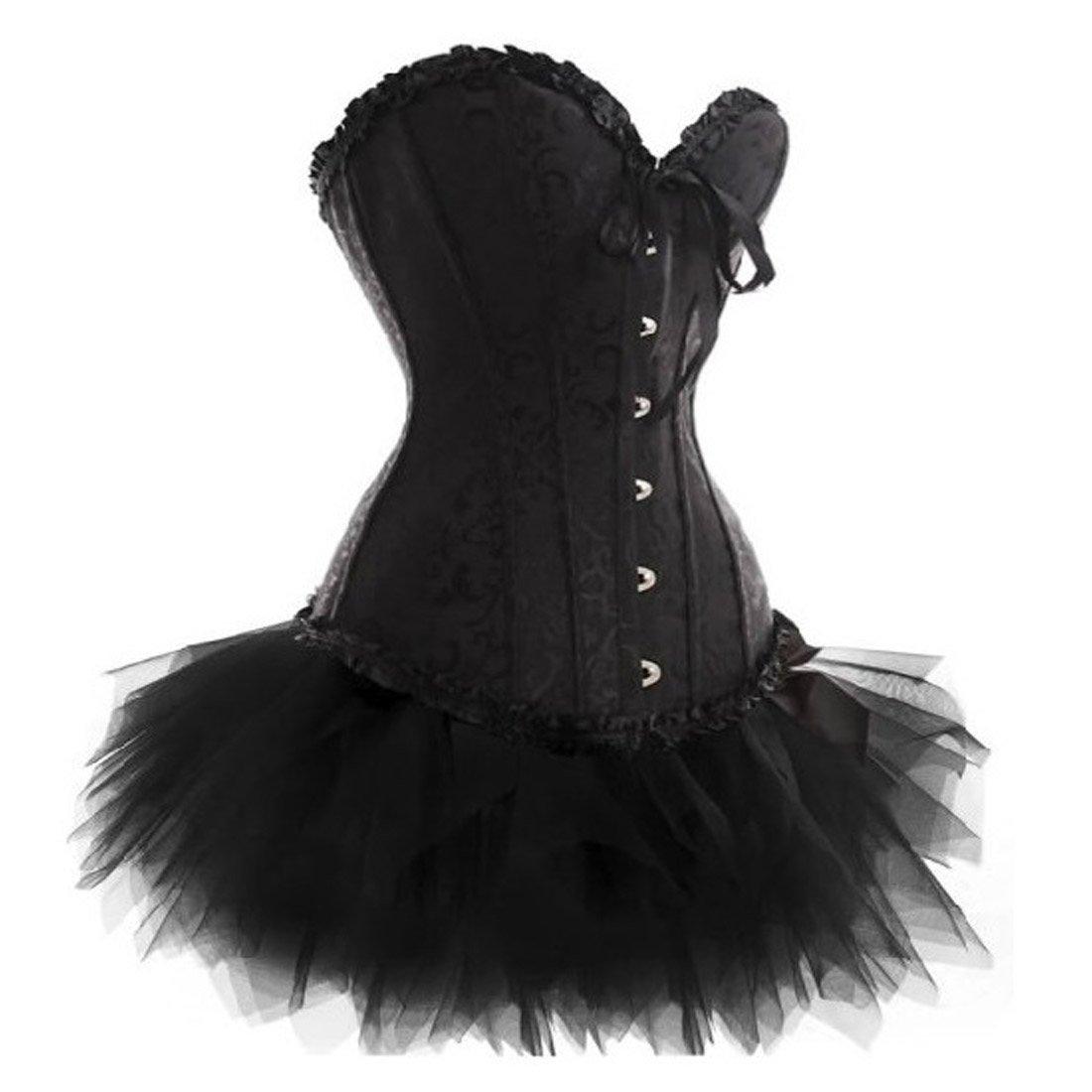 LFFW Brocade Slim Body Shaper Lace up Boned Corset Tutu//Black Skirt DressPlus Size
