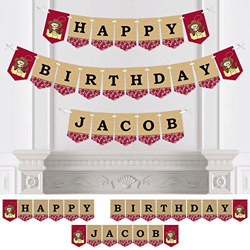 Happy Birthday Western (Big Dot of Happiness Custom Cowboy - Personalized Western Boy Birthday Party Bunting Banner & Decorations - Happy Birthday Custom Name)