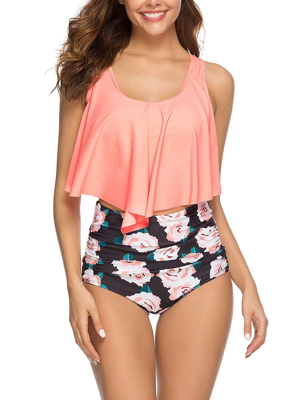 Epsion Women Flounce Swimsuits Girls Falbala Bikini Set High Waist Bikini Bottom Retro Swimsuit Bathing Suits