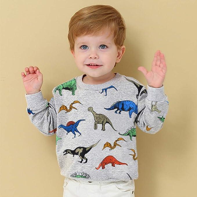 NINGSANJIN Pullover Sweatshirt Jungen M/ädchen Baby Kinder Langarmshirts Dinosaurier Drucken T-Shirt Kleinkind Herbst Winter Oberbekleidung Cute Tops Beil/äufige 1-7 Jahre
