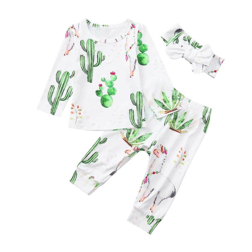 Baby Pajamas Sets,Jchen(TM) Hot Sales! Newborn Baby Boy Girl Long Sleeve Plant Print Tops+Pants Headband Sets for 0-24 Months (Age: 18-24 Months) by Jchen Baby Sets (Image #1)