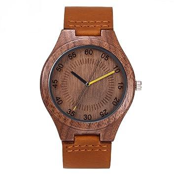 BANNBA Personalizado Vintage Nogal Reloj De Madera con El Dial De 45 Mm De Diámetro,