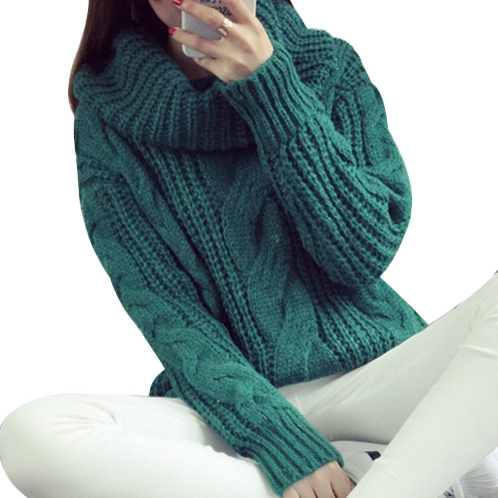 74d5291daeb CHICFOR Womens Winter Warm Thicken Korean Oversized Chunky Twist Knitted  High Turtle Cowl Neck Sweater Pullover (Green