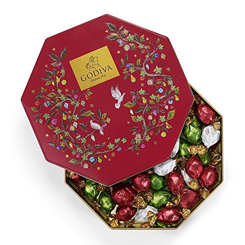 - Godiva Chocolatier Holiday Gift Tin with Assorted Chocolate Truffles, Christmas Gift Idea, 50 Count